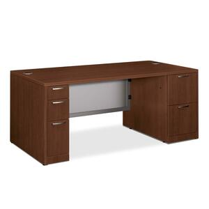 HON Attune 11899G Double Pedestal Desk with Frosted Panel HON11899GFF