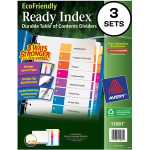 Avery EcoFriendly Ready Index Table of Contents Divider AVE11081