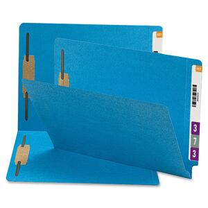 Smead 34170 Blue 100% Recycled End Tab Colored Fastener File Folders SMD34170
