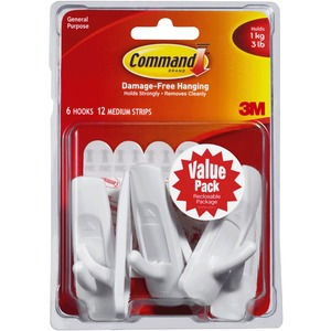 Command Adhesive Strip Hook MMM17001VP6PK