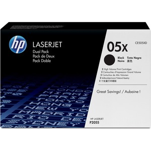 HP 05X 2-pack High Yield Black Original LaserJet Toner Cartridges HEWCE505XD