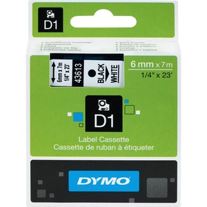 Dymo Black on White D1 Label Tape DYM43613