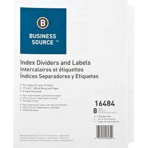 Business Source Punched Laser Tab Divider BSN16484