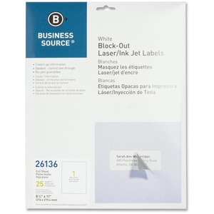 Business Source Block-out Full Sheet Laser/Inkjet Label BSN26136