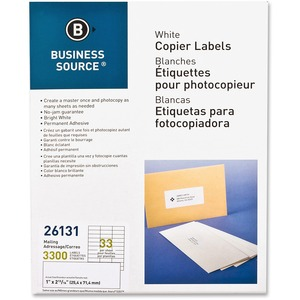 Business Source White Copier Mailing Label BSN26131