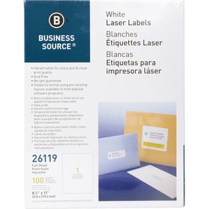 Business Source Full Sheet Laser Mailing Label BSN26119