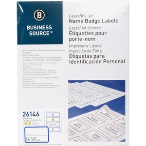Business Source Laser/Inkjet Name Badge Label BSN26146