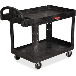 Rubbermaid Medium Utility Cart with Lipped Shelf RCP452088BK