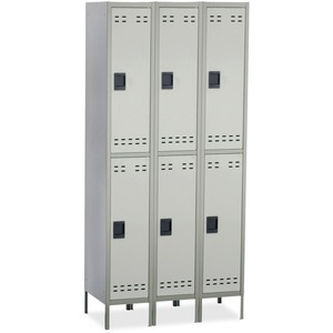 Safco Double-Tier Two-tone 3 Column Locker with Legs SAF5526GR