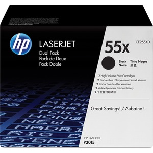 HP 55X 2-pack High Yield Black Original LaserJet Toner Cartridges HEWCE255XD