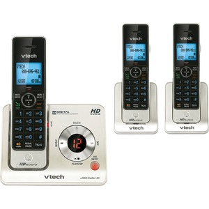 VTech LS6425-3 DECT 6.0 Expandable Cordless Phone with Answering System and Caller ID/Call Waiting, Silver with 2 Handsets VTELS64253
