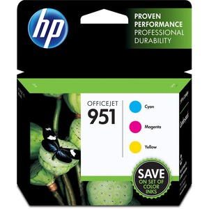 HP 951 3-pack Cyan/Magenta/Yellow Original Ink Cartridges HEWCR314FN