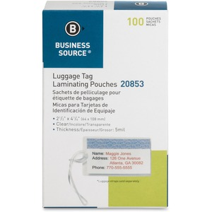 Business Source Laminating Luggage Tag Pouch BSN20853