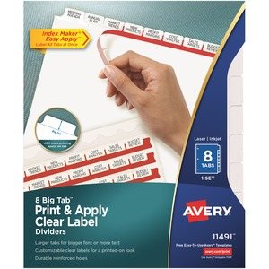 Avery Big Tab Index Maker Clear Label Divider AVE11491