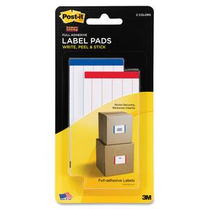 Post-it Super Sticky Red/Blue Lined ID Label Pad MMM2900RBL