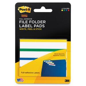 Post-it Super Sticky Assorted Side Top Color Bars File Folder Label Pad MMM2900AFT