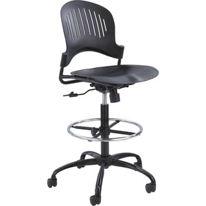 Safco Zippi Plastic Extended-Height Chair - Black SAF3386BL