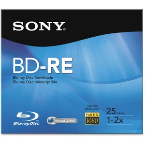 Sony BNE25RH/2 Blu-ray Rewritable Media - BD-RE - 2x - 25 GB - 1 Pack Jewel Case SONBNE25RH2