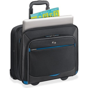 "Solo Tech Carrying Case (Roller) for 16"" Notebook, iPad, Tablet PC, Digital Text Reader - Blue USLTCC902420"