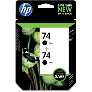 HP 74 2-pack Black Original Ink Cartridges HEWCZ069FN