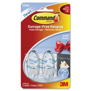 Command Small Clear Hooks with Clear Strips 17092CLR MMM17092CLR