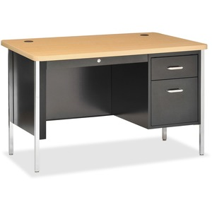 Lorell Fortress Series Single Ped Teacher's Desk LLR41297