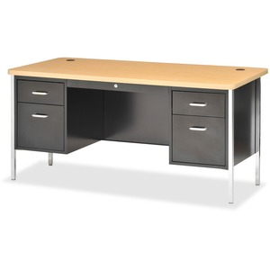 Lorell Fortress Series Double Ped Teacher's Desk LLR41301