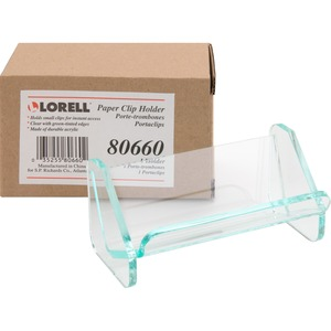 Lorell Acrylic Transparent Green Edge Paper Clip Holder LLR80660