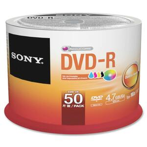 Sony DVD Recordable Media - DVD-R - 16x - 4.70 GB - 50 Pack Spindle - Bulk SON50DMR47PP
