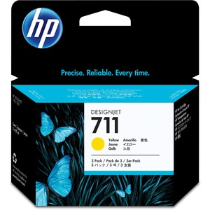 HP 711 3-Pack 29-ml Yellow Ink Cartridges HEWCZ136A