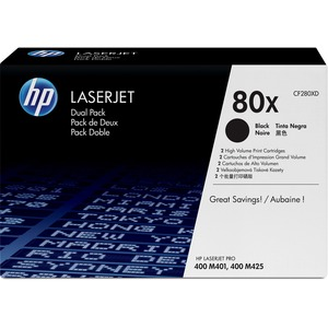 HP 80X (CF280XD) 2-pack High Yield Black Original LaserJet Toner Cartridges HEWCF280XD