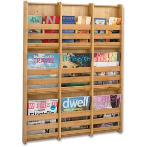 Safco 9-Pocket Bamboo Magazine Wall Rack SAF4624NA