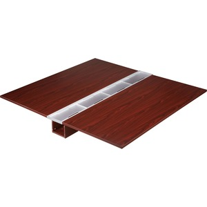 Lorell Concordia Series Mahogany Laminate Desk Ensemble LLR81916