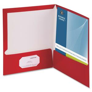 Business Source Two-Pocket Folders with Business Card Holder BSN44428
