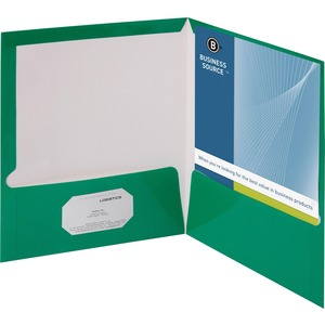 Business Source Two-Pocket Folders with Business Card Holder BSN44427