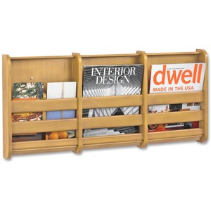 Safco 3 Pocket Bamboo Magazine Rack SAF4620NA