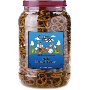 Office Snax Larger Canister Mini Twist Pretzels OFX00082