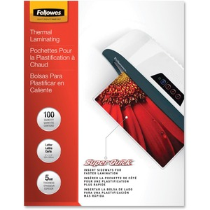 Fellowes Glossy SuperQuick Pouches - Letter, 5 mil, 100 pack FEL5223001