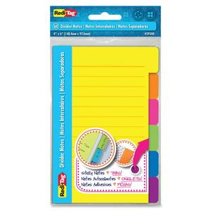 Redi-Tag 4x6 Sticky Ruled Divider Notes RTG29500