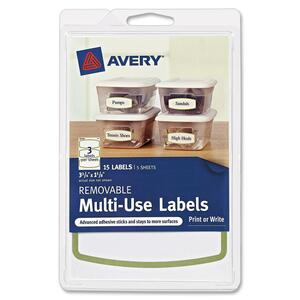 "Avery Removable Multi-Use Labels 41448, Green Border, 3-3/4"" x 1-5/8"", Pack of 15 AVE41448"