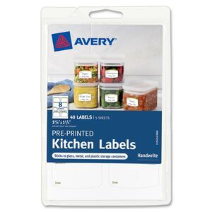 "Avery Pre-Printed Kitchen Labels 41453, Green Border, 1-3/4"" x 1-1/4"", Pack of 40 AVE41453"