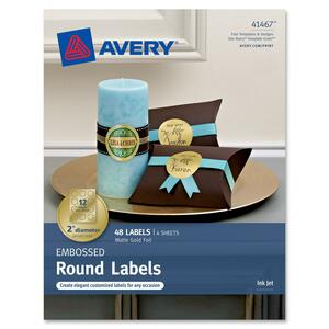 "Avery Embossed Round Labels 41467, Matte Gold Foil, 2"" Diameter, Pack of 48 AVE41467"