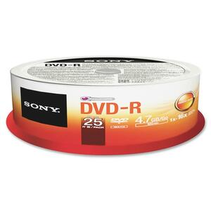 Sony DVD Recordable Media - DVD-R - 16x - 4.70 GB - 25 Pack Spindle SON25DMR47SPM