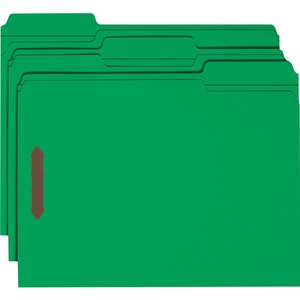 Smead 12141 Green 100% Recycled Colored Fastener File Folders SMD12141