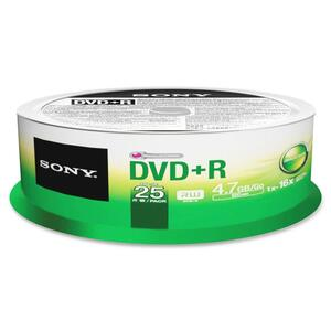 Sony DVD Recordable Media - DVD-R - 25 Pack Spindle SON25DPR47SPM