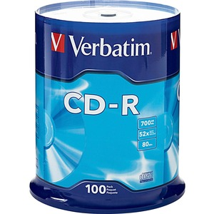 Verbatim 94554 CD Recordable Media - CD-R - 52x - 700 MB - 100 Pack Spindle VER94554