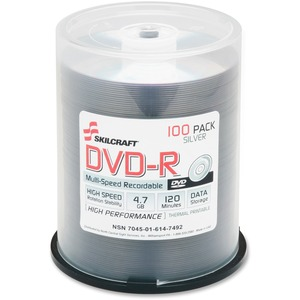 Skilcraft DVD Recordable Media - DVD-R - 4.70 GB Spindle NSN6147492