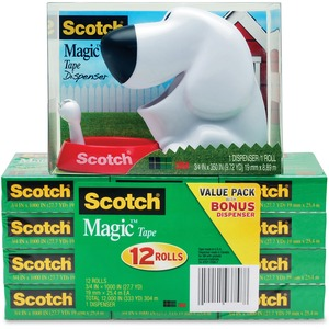 Scotch Magic Tape Dog Dispenser Value Pack MMM810K12C31DOG