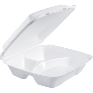 Dart 3-Comprtmt Closing Large Foam Carryout Trays DRC90HT3R