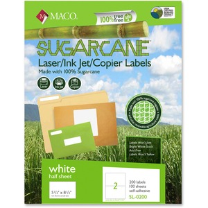 Maco Printable Sugarcane Mailing Labels MACMSL0200